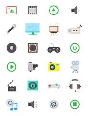 Multimedia vector icons set