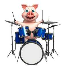 fun  Pig cartoon character  with drum