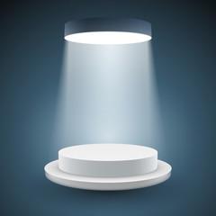 illuminated white round podium