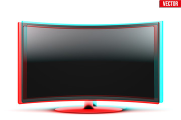 Frontal view of curved widescreen led or lcd tv with visual stereo effect