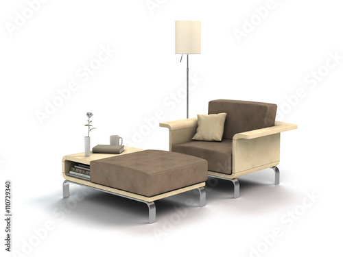 sessel hocker und lampe zum chillen isoliert auf wei em hintergrund imagens e fotos de stock. Black Bedroom Furniture Sets. Home Design Ideas