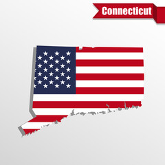 Connecticut State map with US flag inside and ribbon