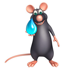 cute Rat cartoon character with water drop