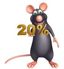 cute Rat cartoon character with 20% sign