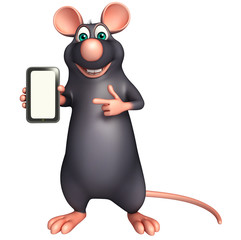 cute Rat cartoon character with mobile