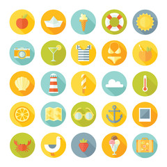 Travel vacation vector flat design big icons set.