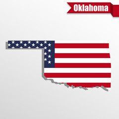 Oklahoma State map with US flag inside and ribbon