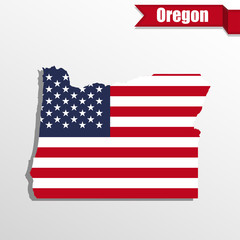 Oregon State map with US flag inside and ribbon
