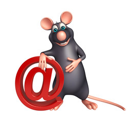 Rat cartoon character with at the rate sign