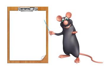 cute  Rat cartoon character with display  board