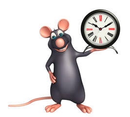 Rat cartoon character  with clock