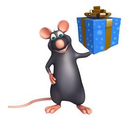 fun Rat cartoon character with giftbox