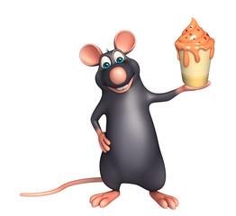 fun Rat cartoon character with ice-cream
