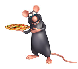cute Rat cartoon character  with pizza