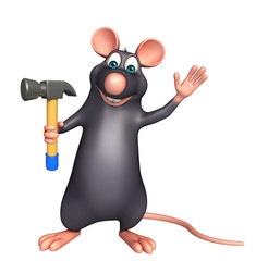 cute Rat cartoon character with hammer