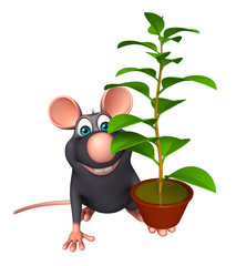 Rat cartoon character with plant