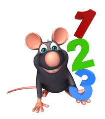 fun  Rat cartoon character with 123 sign