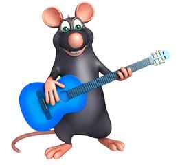 fun  Rat cartoon character  with guitar