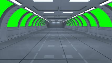 3d render interior. Futuristic hallway. Interior concept design and green background