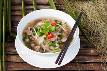 Traditional Vietnamese beef soup pho