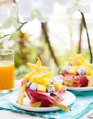 Tropical salad: pitahaya, mango, dragon fruit bowl