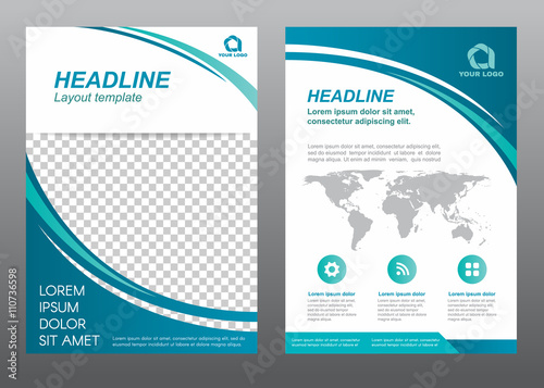 Layout Flyer Template Size A Cover Page Curve Blue Tone Vector