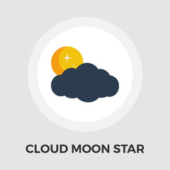 Cloud, moon, star Vector Flat Icon