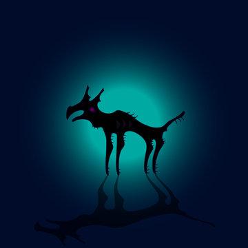 Monster dog in moon shine