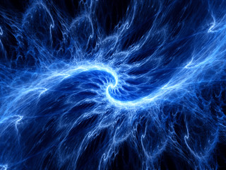 Blue glowing fractal in space