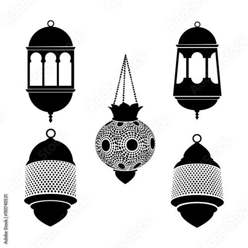 Quot Set Of Arabic Lanterns Black Silhouettes Of Ramadan