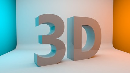 3D text letter word