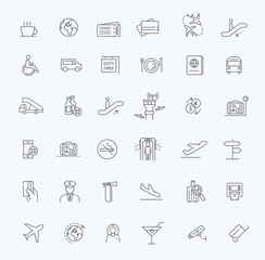 Air Travel or Airport Services outline icon set