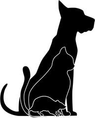 Silhouette of pets: vet logo.