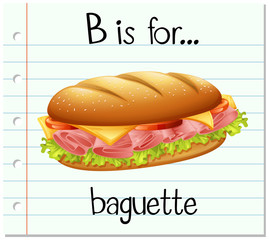 Flashcard letter  B is for baguette