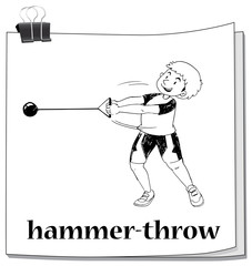 Doodle of people doing hammer-throw