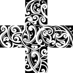 Maori styly tattoo cross shape