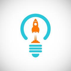 launch rocket idea vector logo.