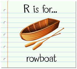 Flashcard letter R is for rowboat