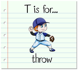 Flashcard letter T is for throw