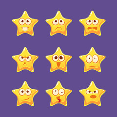 Golden Star Emoji Character Set