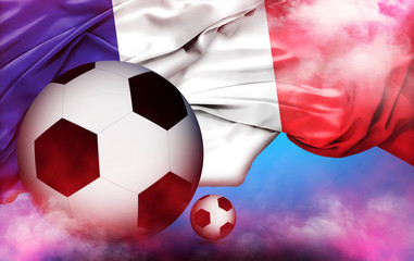 Euro 2016 France football championship with ball and france flag background, over light