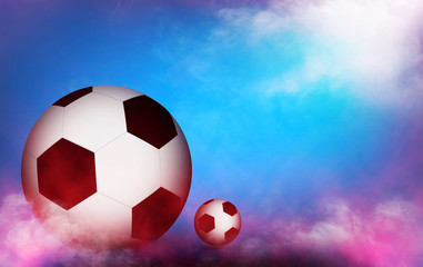 Euro 2016 France football championship with ball on color of france background, over light