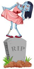 Zombie standing on gravestone