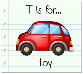 Flashcard letter T is for toy