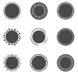 Collection of filled circles with decoratice border