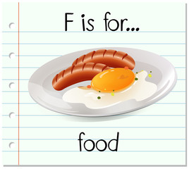 Flashcard letter F is for food