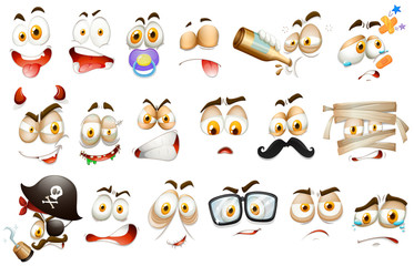 Facial expressions on white background