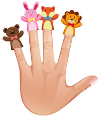 Four finger puppets on human hand