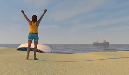 3D render of female figure on a beach waving to distant ship.