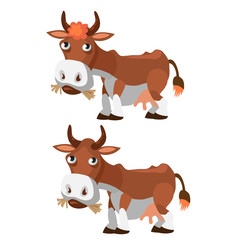 Funny brown cow in cartoon style
